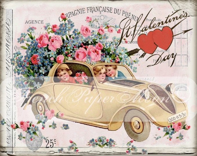 Shabby Vintage Digital Valentine Car, Valentines Day, Valentine Pillow Transfer Image, Iron On Fabric Graphic Transfer