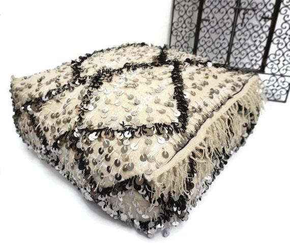 handira wedding blanket floor pillow pouf vintage beni ourain