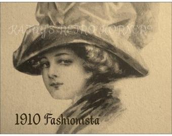 LOT of TEN Vintage Style POSTCARDS,1910 Reproduction Vintage Fashion Postcard,Stationary,PostcardLo t,Edwardian Lady Sketch Postcard