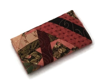 Fabric Checkbook Cover, Quilted Checkbook Cover,Crazy Patchwork design Cover, BayQuilter's Cover, Crazy Patchwork Checkbook Cover