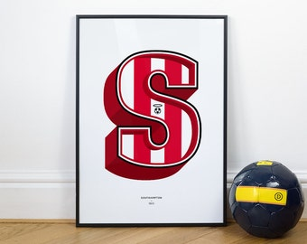 S is for Southampton, Football Typography Print