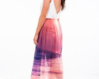 """Women's Chiffon Wrap Skirt """"Angel"""" Sunset Print"""