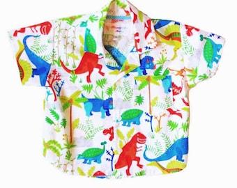 Dinosaur button up shirt sizes newborn to 4 years