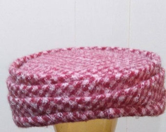 Red and White Tweed Checked Pill Box Hat