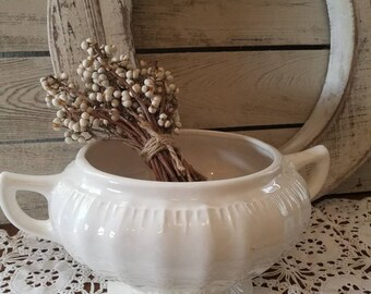Vintage White Ironstone Tureen - Farmhouse Home Decor - Planter