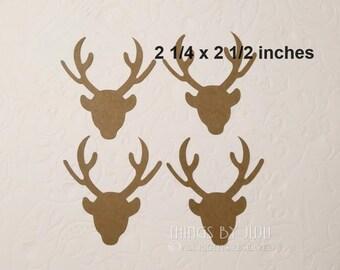 24 Large Die Cut Deer, Kraft Deer Head, Christmas  Die Cuts, Die Cut Reindeer, Antler Stag Die Cut, Buck Die Cut