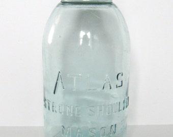Pale Blue Half Gallon Atlas Strong Shoulder Mason Jar with Zinc Lid, lot 8