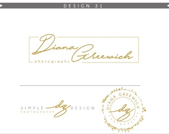 Watercolor Logo Design Branding Package Inc. Photography Logo Watermark - GOLD GLITTER initials letters script cute Watercolor Logo- Logo 25