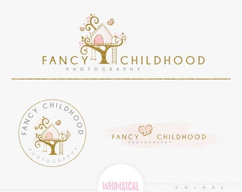 Cute Treehouse Logo 2 -  Premade Photography Logo and Watermark, Classic Elegant Script Font GOLD GLITTER TREE children Calligraphy Logo