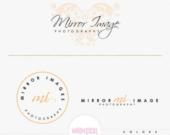 Photography Logo 3-  Premade Photography Logo and Watermark, Classic Elegant Script Font GOLD GLITTER butterfly children Calligraphy Logo