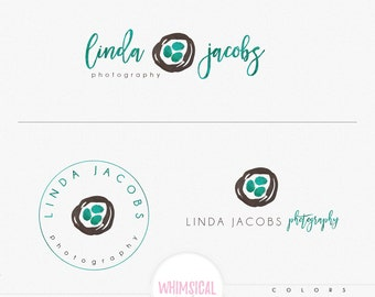 Artistic sketchy nest  - nest feather photography logo Watercolor Logo Branding Package feminine - package logo Script Watercolor Logo