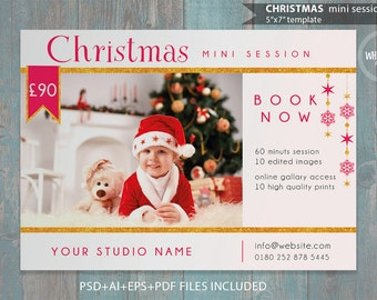 "Christmas Mini Session Template for Photographers - 7""x5"" print - psd template- eps pdf - editable file- gold glitters and red ad template"