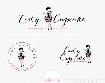 Lady wearing cake dress- Cute cupcake and bakery logo