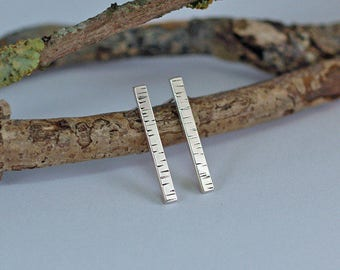 Silver Birch Bar Stud Earrings, Handmade Sterling Silver Studs, Gifts for Nature Lovers, Womens Jewellery, Wood Textured Silver Jewelry