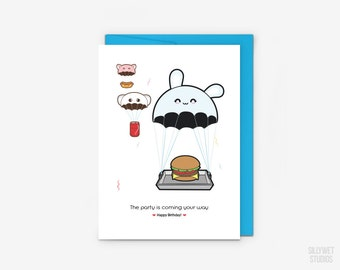 Cute Party is Coming Card, Birthday Card, Party Card