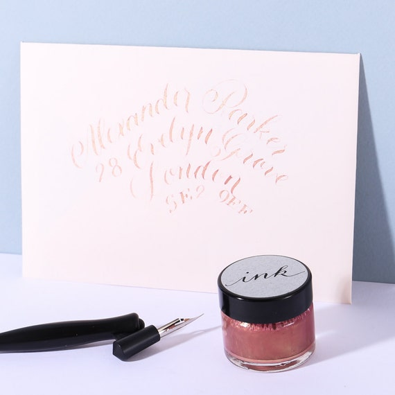 Rose Gold Calligraphy Ink From Alaisestationery On Etsy Studio