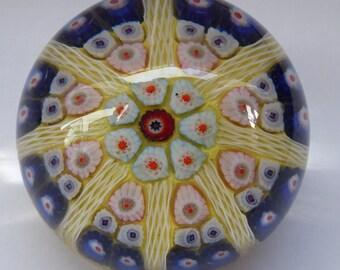 Beautiful VASART Scottish Glass Paperweight with 8 Spokes; with yellow ground, latticino canes & millefiori