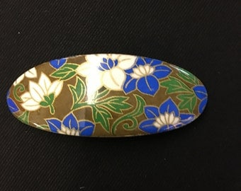 Vintage flower oval hair barrette clip on bamboo