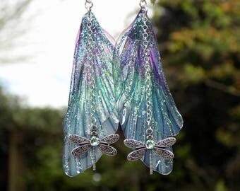 Fairy Wing Earrings, Fairy Earrings, Faerie Earrings, Purple & Aqua Earrings, Hand Painted, Dragonfly Earrings, Boho, Woodland