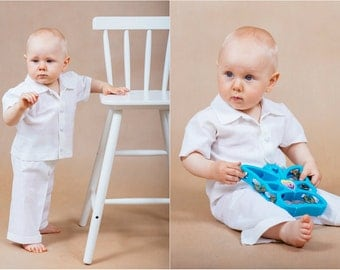 Linen boy outfit Christening boy outfit Baby boy outfit Baptism boy outfit Linen boy suit Baby linen suit White linen suit Linen baby gown