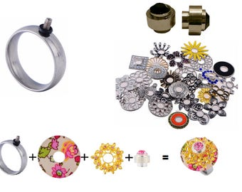 Interchangeable Ring - Comes with Black Topper and 2 Random Flat Beads Size 7