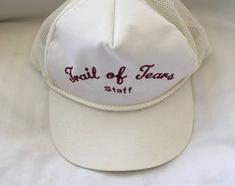 Vintage Trail of Tears staff mesh trucker style snap back cap