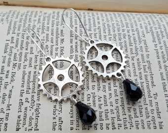 Steampunk earrings - cogs and black bead drop in silver