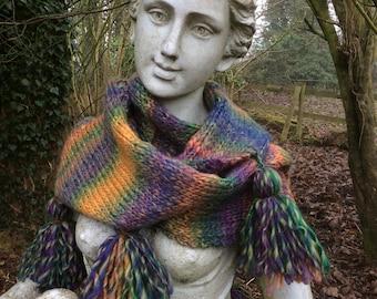 Tasselled Infinity scarf or Snood in purples, oranges and greens