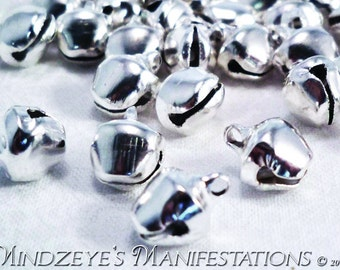 50 Silver Tone Jingle Bells 8.5x6mm