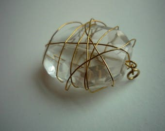 Vintage Gold Tone Wire Wrapped Faceted Clear Crystal Pendant