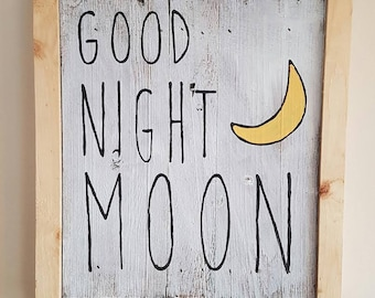 Good Night Moon art piece reclaimed wood