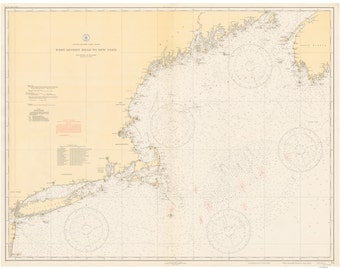 West Quoddy Head to New York - 1935 Nautical Map - Reprint - Big Area AC Chart 70