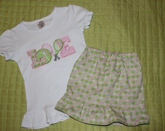 Tennis Love Outfit with Shorts or Skirt for Infant, Toddler, and Youth