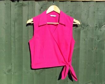 Vintage Fuschia Pink Wrap Shirt