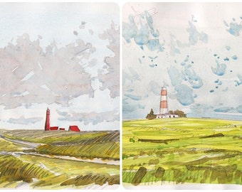 LOT two original watercolor  Lighthouse landscape painting decor home wall original painting yellow art lighthouse watercolour decor