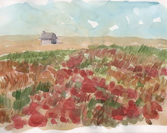 Lonely house in England countryside original pencil and watercolor english decor landscape painting original wall art red art home deco