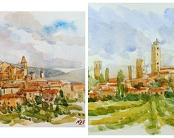Lot Tuscany original glicée prints Tuscan decor painting print Tuscan wall decor watercolor Italy art Italy wall decor Tuscany watercolor