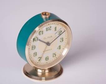 Soviet Alarm Clock, Vintage Teal Blue and Gold Slava Desk Clock, Russian Clock, Soviet Union