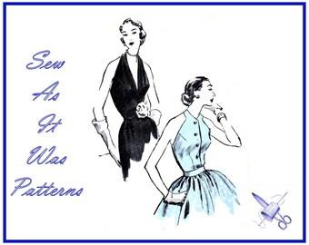 "1950s Vogue 7454 Halter Neck Tops Blouses Cut Away Sleeveless Plunging Necklines Halterneck Vintage Sewing Pattern Size 14 Bust 32"" 83cm"