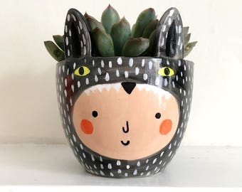 Planter - Small Planter - Succulent Planter - Wolf Plant Pot - Mini Plant Pot - Mini Planter