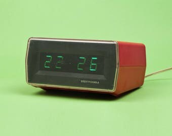 Vintage digital Alarm clock ELEKTRONIKA made by Soviets. USSR made Rare nice electrnic clock Eelektronika