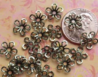 Antique Brass Plate Flower 9mm Bead Caps, 24 Caps - Item 2187