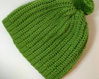 Ribbed Crochet Beanie with Pom-Pom. Green. Adult Winter hat.