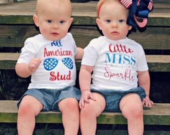 Memorial Patriotic All American Stud onesie tshirt toddler kids shirts