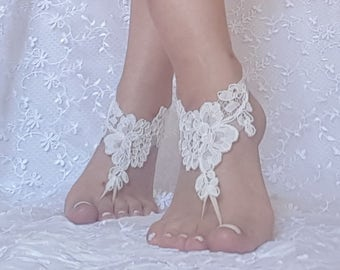 Beach bridal sandals barefoot sandal footwear ivory free shipping party prom wedding lace shoes christmas gift bellydance show costume
