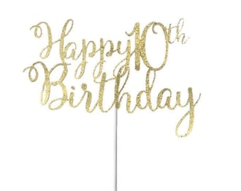 Happy Birthday Age Cake Topper- Any Color Glitter