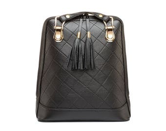 Luxury Genuine Leather Backpack 8661 with decorative straps in black color, Leather backpack, leather bag , Leather Rucksack