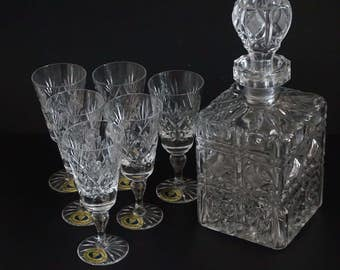 Vintage, Crystal Decanter with Six Tutbury Full Lead Crystal Sherry Glasses