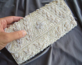 Beaded purse 1960s/cream purse bridal