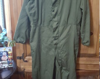 Army Green Flight Suit /Coveralls Size M. Zip And Snap Front